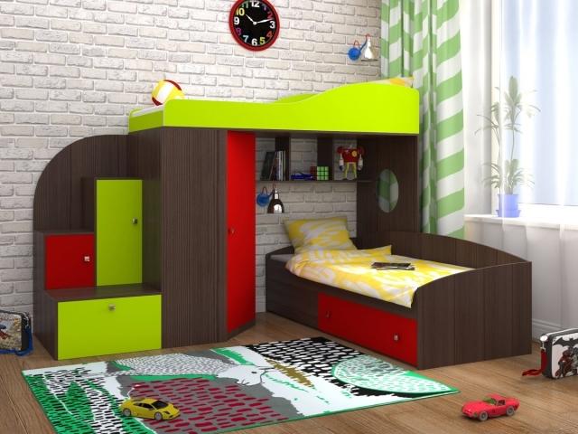 Двухъуровневая детская кровать со шкафом венге+лайм