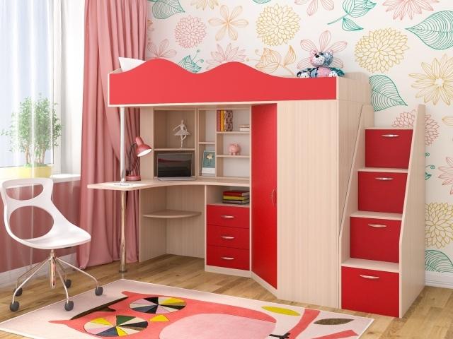 Детский уголок кровать, стол и лесенка-комод