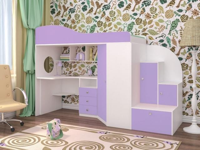 Кровать чердак с письменным столом и шкафом-лестницей.