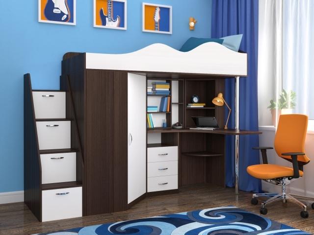 Детская кровать со встроенным шкафом, столом и лесенкой-комодом.