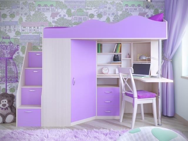 Кровать для девочки со встроенным шкафом, столом и лесенкой-комодом.