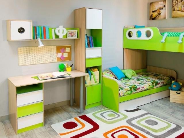 Комплект мебели в детскую комнату лайм + дуб молочный