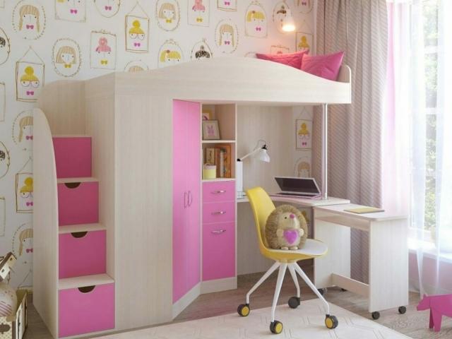 Кровать-чердак со встроенном шкафом, столом и лестницей-комодом