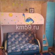 Кровать, шкаф и лесенка-комод Топаз/дуб молочный - 33 000 рублей.
