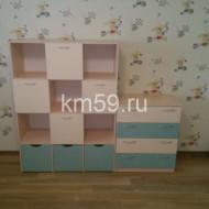 Стеллаж для игрушек и комод на 4 ящика дуб молочный/крем/океания 20 650 рублей