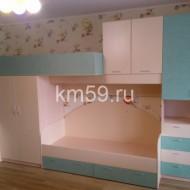 Комплект мебели в детскую с двумя спальными местами, шкафами, лесенкой комодом 4250*1100*2400 мм дуб молочный/крем/океания 56 890 рублей